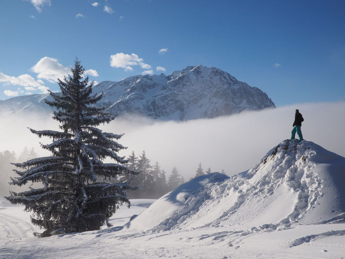 Adult Adults Only Adventure Beauty In Nature Cold Temperature Day Girl Power Intrepid Landscape Mountain Mountain Range Nature One Man Only One Person One Woman Only Only Men Outdoors People Scenics Sky Snow Snowboarding Tree Winter The Great Outdoors