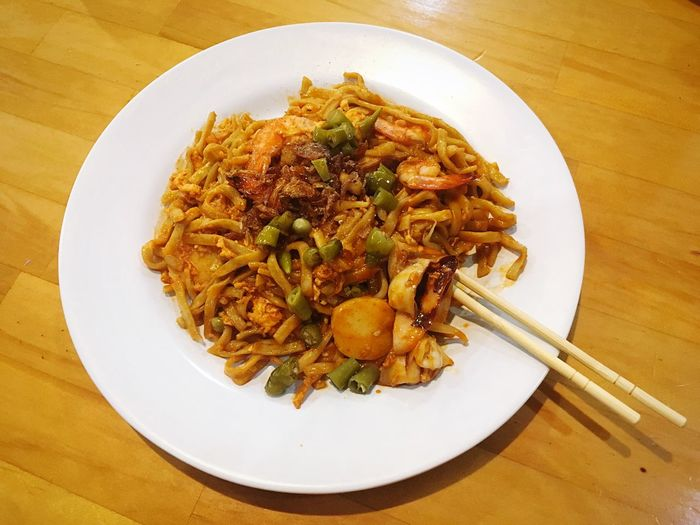 Mie Terempa Seafood Terempak Plate Food Ready-to-eat Food And Drink Freshness Table Still Life Serving Size No People Indoors  High Angle View Wellbeing Indulgence Directly Above Healthy Eating Close-up Pasta Italian Food Fried Vegetable