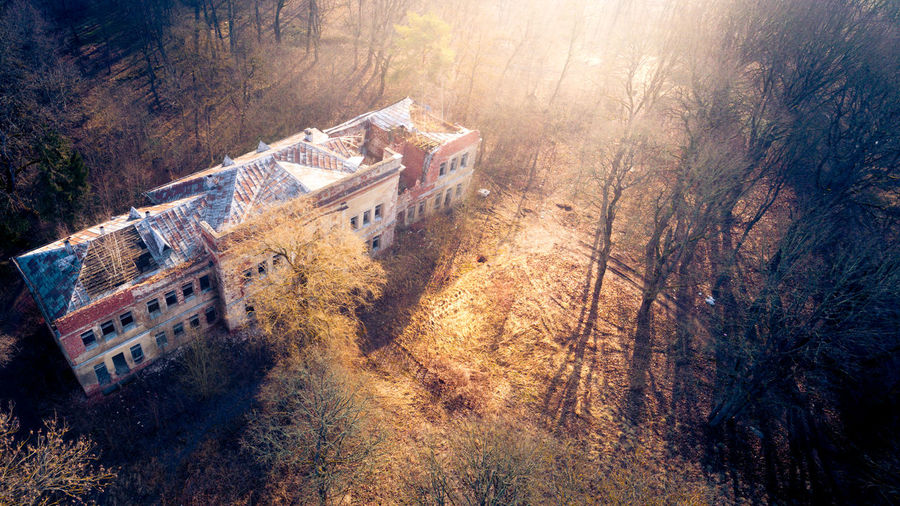 Abandoned Mansion, Aerial View Abandoned Places Abandoned Buildings Abandoned & Derelict Derelict Derelict Building Forgotten Urban Mansion Manor Manor House Château House Abandoned Lithuania Lietuva Ruins Aerial Shot Drone  History EyeEm Selects Aerial Photography Dronephotography High Angle View Sunset Aerial View Sky Damaged Run-down Obsolete Weathered