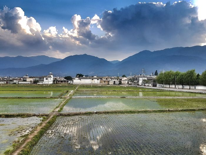 Evening in Xizhou Cangshan Mountain Cangshan Reflection Water Mountain Rural Scene Agriculture Field Sky Landscape Mountain Range Rice Paddy