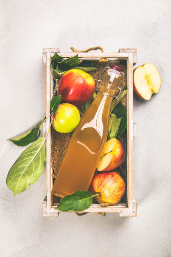 Apple Cider Directly Above Fermentation Foods Food Food And Drink Freshness Fruit Green Color Healthy Eating High Angle View Indoors  Leaf Leaves No People Onion Plant Part Probiotic Still Life Studio Shot Tray Variation Vegetable Vinegar Wellbeing White Background