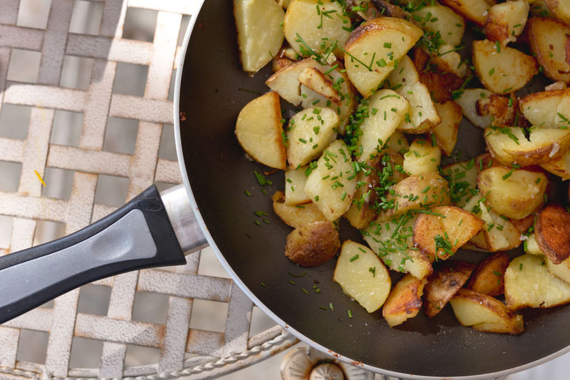 Close-Up Of Potato In Pan