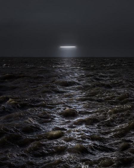 Ghost Sky Sea Horizon Horizon Over Water Water Futuristic Enlight Vision Rough UFO Nightphotography Night Lights Neon Power In Nature Waterfront Beauty In Nature Wave Night Motion Wind Outdoors No People Landing Capture Tomorrow