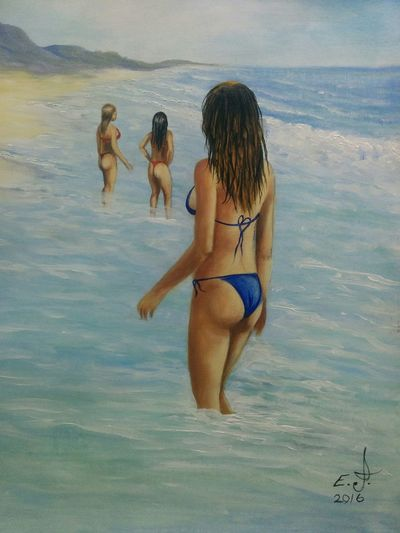 "Los Angeles girls ,Malibu beach Los Angeles California ,oil on canvas 18""_24"". California Coast California Sunshine Malibu Beach La Girls Seascape Popular Beach Natural Beauty Nature_collection Sunrise_Collection Portrait Art, Drawing, Creativity Fine Art Drawing Fine Art Painters. Painting Modern Masters Koi."