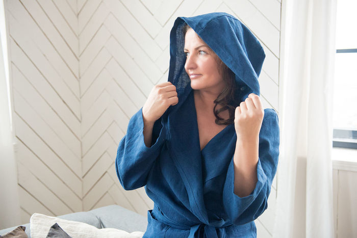 Fashion Fashion Stories Beautiful Woman Beautiful Women Bedroom Blue Close-up Day Dressing Gown Indoors  Leisure Activity Lifestyles Linen Looking One Person Only One Woman Portrait Real People Robe Shower Time Standing Texture Window Young Adult Young Women