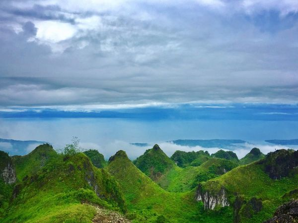 Cloud - Sky Sky Beauty In Nature Scenics Nature Landscape Outdoors Green Color Day Mountain Rock - Object Mountain Range Adventure Travel Destinations Scenery Tourism Blue Sky Relaxation Osmeña Peak Cebu City, Philippines