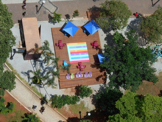 """""""The Blue Umbrellas"""" -- Geometric Urban Art at Inner City Playground in downtown São Paulo City Life Cityscape Geometric Shapes Largo Do Paissandu Susan A. Case Sabir Unretouched Photography Urban Playground Aerial Photography Aerial View Blue Umbrellas Citiscape  Colorful Downtown São Paulo Geometric Design Geometric Patterns Happy Time High Angle View Multi Colored No People Not A Drone Photo Playground Architecture Sunny Day Tropical Climate Urban Art Urban Photography"""