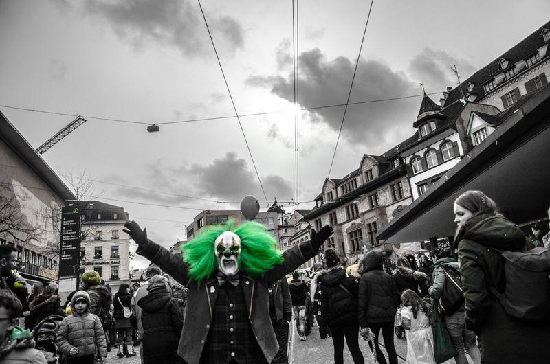Carnival Fasnacht Clown Taking Photos Enjoying Life Carnaval