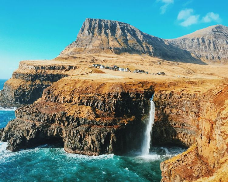 Waterfall at Gasadalur in Faroe Islands for Fotostrasse