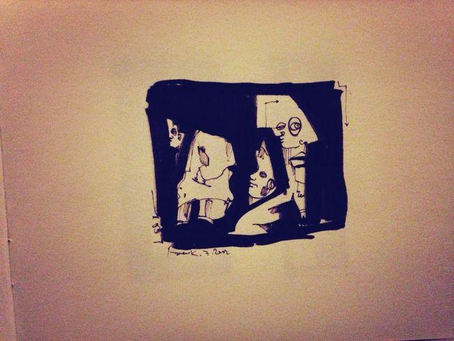 Gesellschaft Zeichnung  Skizze Geschlossene Gesellschaft