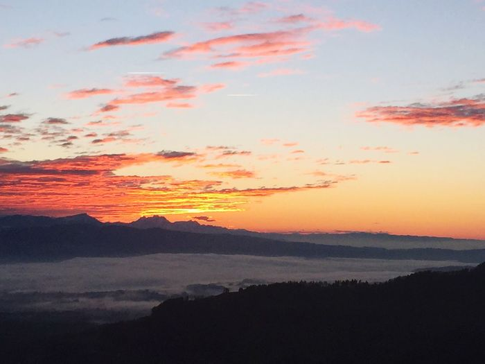 "at Alp Scheidegg, Wald, Switzerland, ""burning sky"", nature lover, autumn, colors, pristine nature, high fog, sea of fog, after sunset, view towards Swiss alps, Rigi, Pilatus"