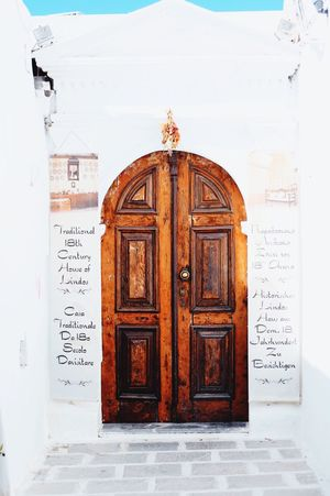 Door Entrance Closed No People Wood - Material Doorway Old-fashioned Built Structure Architecture Rhodes Greece White