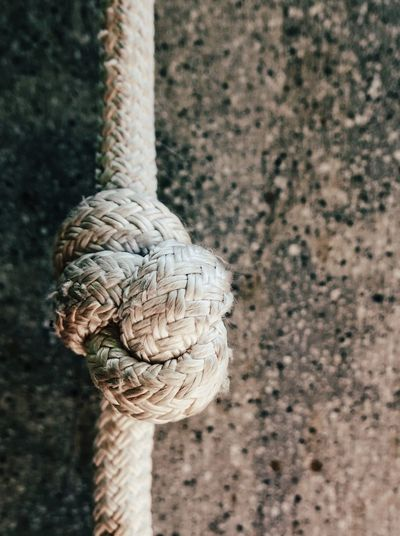 Close-up of rope tied on wall