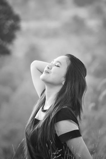 Sipping Nature Asian Girl Beauty Beuatiful Photo Black & White Blackandwhite Blackandwhite Photography Casual Clothing Focus On Foreground Front View Leisure Activity Lifestyles Long Hair Longhair Monochrome Photography Mood Nature Person Young Adult Young Woman Young Women