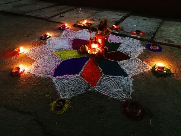 Flame Burning Glowing Heat - Temperature Illuminated Celebration Night Diwali High Angle View Traditional Festival Indoors  No People Diya - Oil Lamp Tihar Ko Ramjham! Hinduism Hindu Festival Hindu Culture Tihar Festival Of Light And Colour