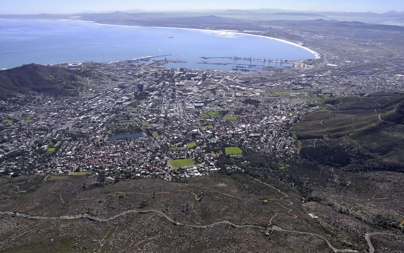 Panoramic View of Cape Town, South Africa and seacoast No People Cityscape Water Outdoors Day Sea Nature City Urban Sprawl Africa Bird's Eye View Panorama High Angle View Human Settlement Metropolis Ocean Summer Natural Lighting Distant Seacoast Coastal Landscape Scenics - Nature