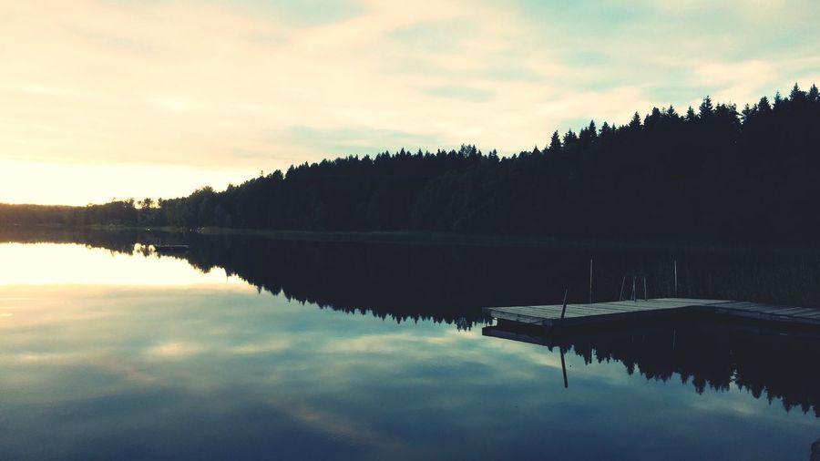 Mirrorlake Lake Sky Sunshine Sunset Threes Dock