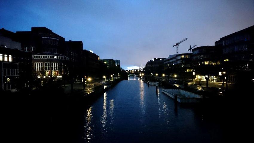 Hammerbrook. Hamburg Germany Hh Hammerbrook Hammerbrooklyn From A Bridge Bridge View Water Horizon Blue Black Black And Blue Nightfall Dusk Blue Hour Shadow Light And Shadow Silhouette Reflection Simplicity