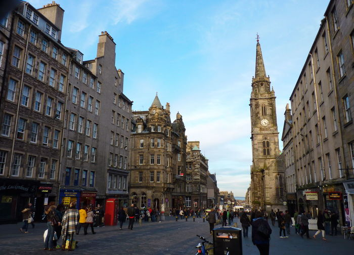Architecture Autumn Building Exterior Built Structure City City Life Clock Tower Cloud - Sky Day Edinburgh Large Group Of People Men Outdoors People Real People Sky Town Square Travel Destinations United Kingdom Urban Landscape