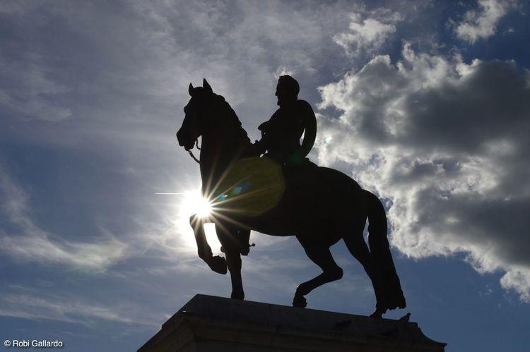 Equestrian statue of French King Henry IV. Square du Vert Galant, Ile de la Cite, Paris Historical Monuments Paris Cloud - Sky Human Representation Low Angle View Outdoors Sculpture Silhouette Statue Sun Sun Flare Sunlight