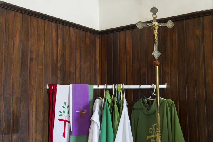 Catholic Coathanger Cross Hanging Indoors  No People Sacred Sacred Clothin Stole  Tunicas Vestments Wood - Material