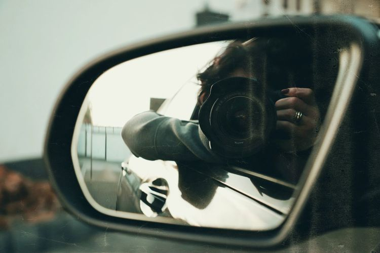 Selfie Portrait Portrait Of A Woman Analogue Photography Vintage Evening Film Woman Woman Portrait Waiting Reflection Glass - Material Side-view Mirror Close-up Land Vehicle Mirror Transparent Mode Of Transportation Motor Vehicle Technology Car Camera - Photographic Equipment Transportation Photography Themes Rear-view Mirror Day Photographing Indoors  Vehicle Interior Window No People Digital Camera International Women's Day 2019
