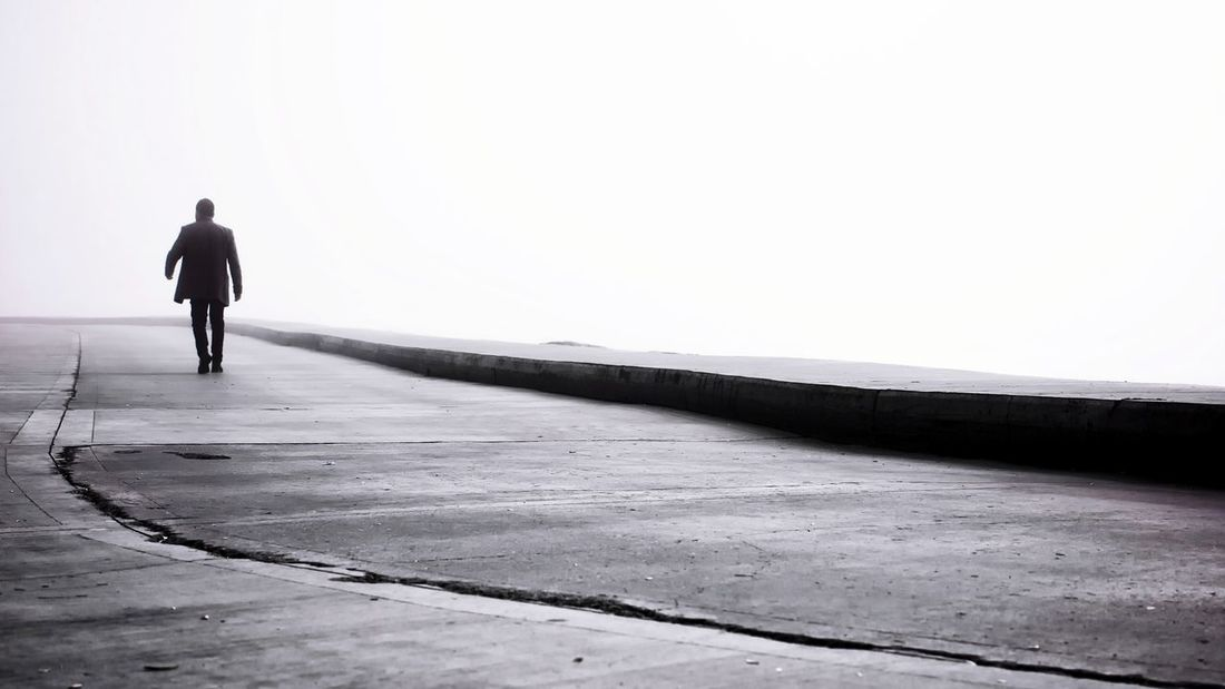 Fog One Person Streetphotography Urban Street EyeEm Istanbul People Abstract Photography Blackandwhite Street Photography Mist Bnw Bnw_collection Full Length Beach Sea Men Sand Human Back Rear View Walking Silhouette Sky