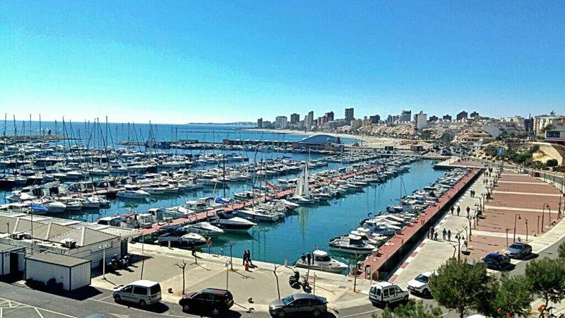 Vistas del Club Nautico y pesquero del Campello. Se ve al fondo la playa y el pueblo. El Campello, Alicante Sea Landscape Water Water_collection