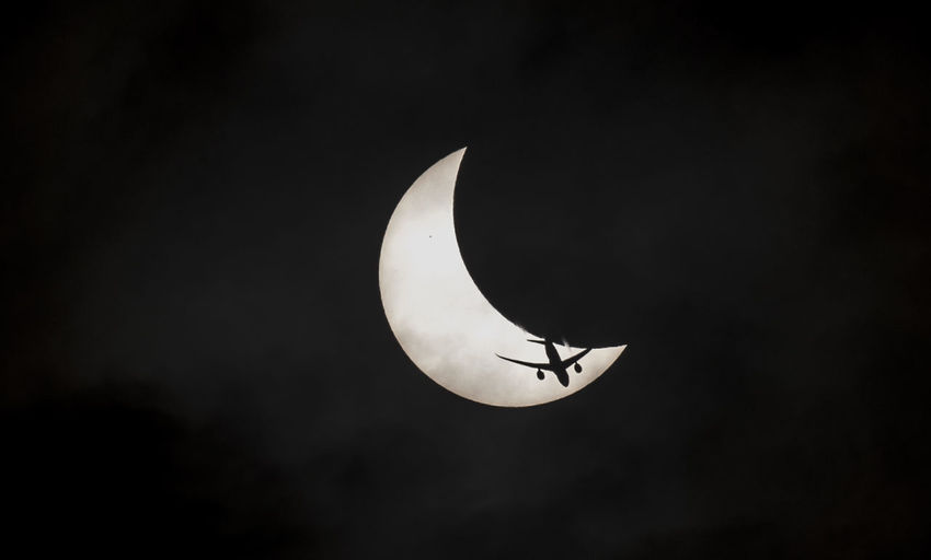 Partial Solar Eclipse 20 3 2015 Airplane Astronomy Beauty In Nature Crescent Eclipse Eclipse2015 Eclipse_sun Flying Moon Nature No People Outdoors Solar Eclipse