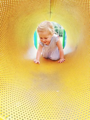 Tunnel EyeEmNewHere Blond Hair Childhood Smiling Happiness Full Length Child Cute Cheerful Playing Portrait A New Beginning
