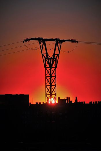 Atmosphere Back Lit Check This Out Clear Sky Colors And Paterns Dark Dramatic Sky Electric Light Electricity Tower EyeEm Gallery Lagavia Lighting Equipment Madrid Metalic Structure Moody Sky Orange Color Power Line  Power Supply Romantic Sky Scenics Silhouette Sky Sun Sunset Vibrant Color My Year My View Adapted To The City The City Light