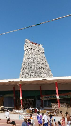 Hindu temple tower Outdoors Blue Day Clear Sky People Snow Building Exterior
