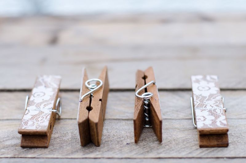 Close-Up Of Four Clothes Pins