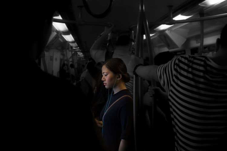 Bangkok Thailand. Big City Life Day Illuminated Indoors  Lifestyles Lonelyplanet Lost Men Mode Of Transport One Person People Public Transportation Real People Skytrain Skytrainbangkok Standing Train - Vehicle Transportation Travel Vehicle Seat Women Young Adult