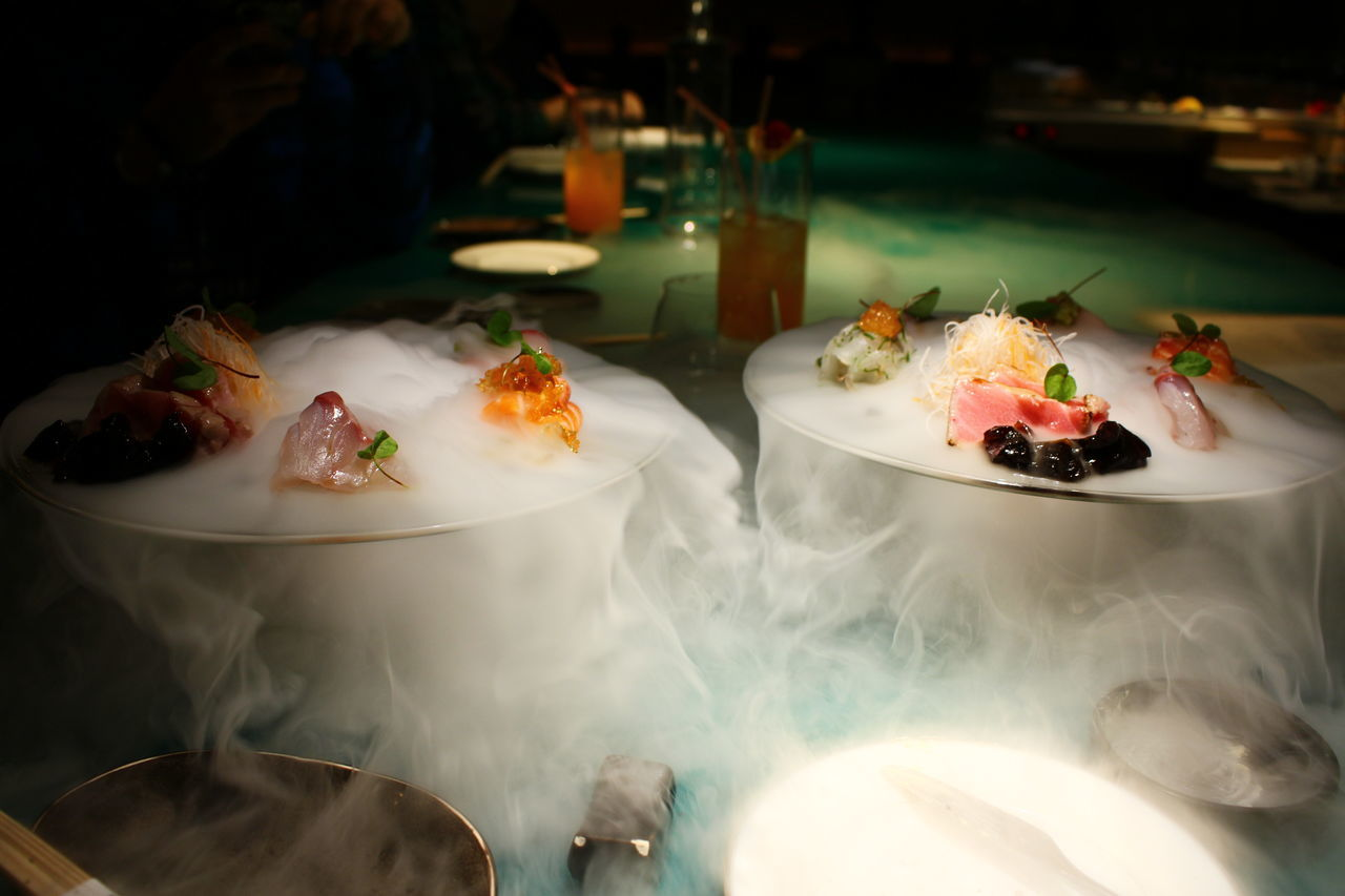 Fresh sushi served on dry ice