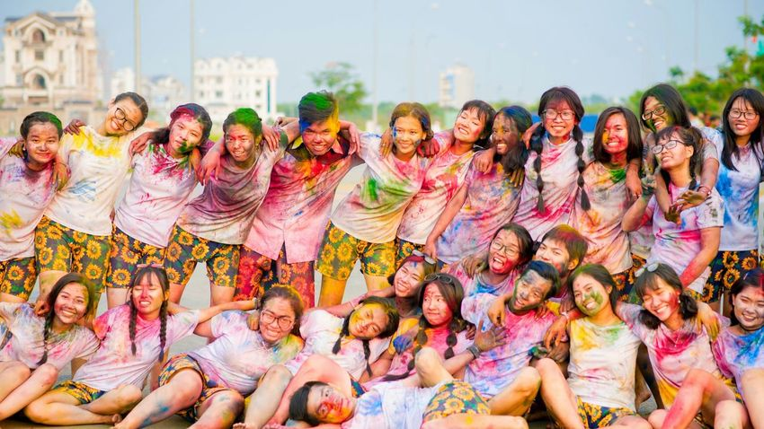 Friendship... Miss all of you Friends Highschool Colorful EyeEm Selects Holi Crowd Young Women Child Multi Colored One Teenage Girl Only Face Powder