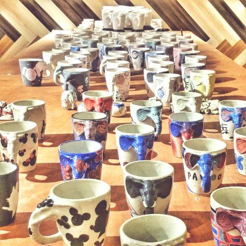 In A Row Indoors  Variation Abundance Choice Arrangement Close-up Cups Elephant Thailand Bangkok