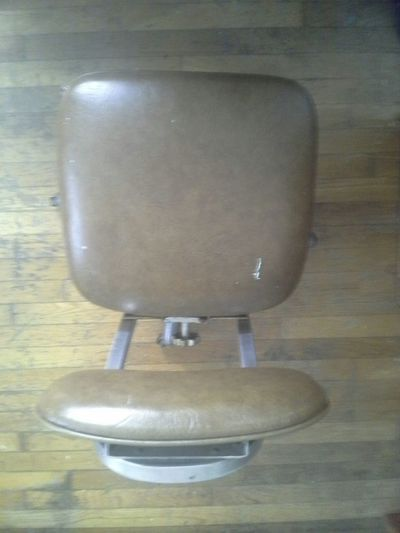 Antiques Chairs Brown Leather Rolling Metal Swivel Chair Furniture Old