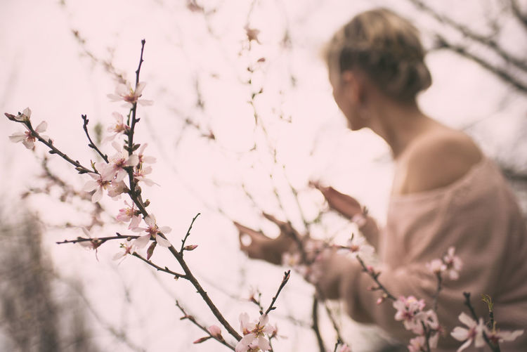 People Nature Flower Tree Pink In Bloom Day Outdoors Blooming Blossom Growth Pink Flower Branch Freshness Beauty In Nature Young Adult Pink Color One Person Low Angle View Millennial Pink Real People Selective Focus Fragility Lifestyles Women Flower Head