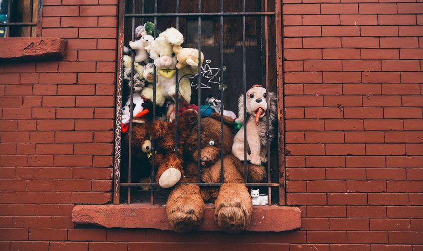Stuffed Toys In Window Of Brick Wall