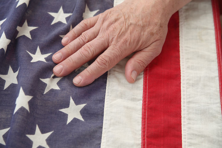 Close-Up Of Man Touching American Flag