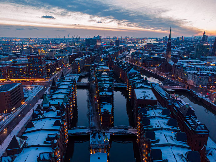 Hamburg harbour in winter droneshot