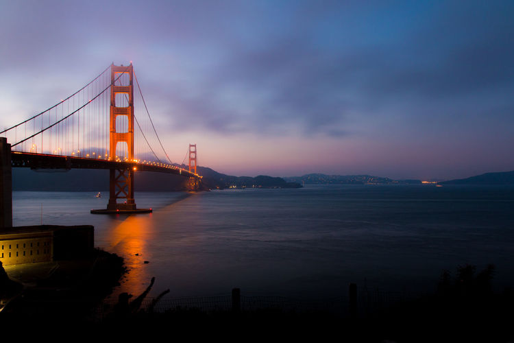 Suspension bridge over sea against cloudy sky during sunset