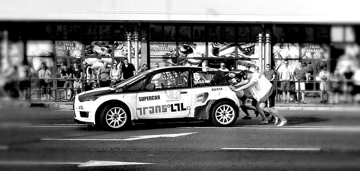 Out of horsepower! Rally Rallye Rally Car Rally Race Rally Day Rallye Hungary Horsepower Out Of Horsepower DREAMTEAM Helping Others Help Each Other Black And White Photography Black And White Collection  Black And White Car Show Cars Race Car Racing Szekesfehervar Rallye Race Pushing