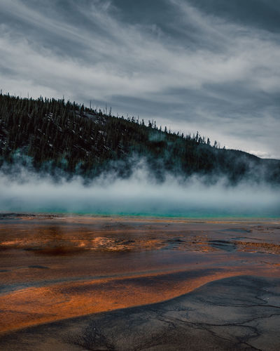 Scenic view of colored hot spring against sky