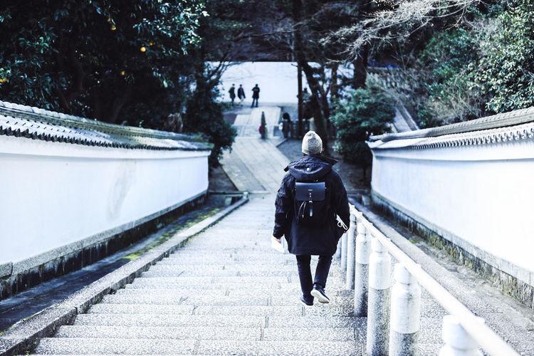 Rear view of man walking down on steps