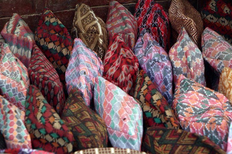 Full Frame Shot Of Dhaka Topis At Market Stall