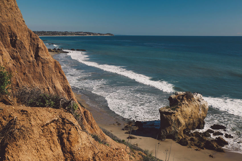 California El Matador Beach Pacific Beach Beauty In Nature Clear Sky Cliff Day Horizon Over Water Nature No People Ocean Outdoors Rock - Object Rock Formation Sand Scenics Sea Shore Sky Tranquil Scene Tranquility Water Wave