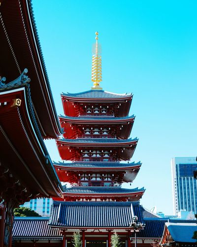 Temple Japan Temple Vibrant Color Red Blue Colors Holy Sky Travel Destinations No People Outdoors Skyscraper Day