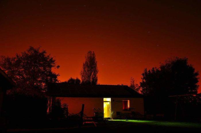 Illuminated Nightshot Intriguing Moon Outdoors Architecture Tree Farmhouse Garage Door